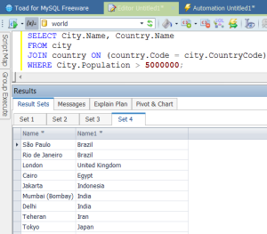 Queries and results from that query in a separate pane.